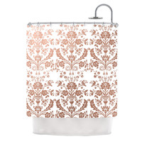 """KESS Original """"Baroque Rose Gold"""" Abstract Floral Shower Curtain"""