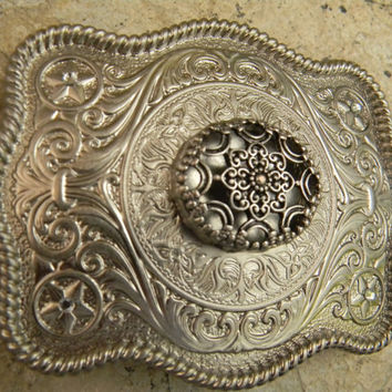 Silver Concho Flower Belt Buckle, Western Womens Southwestern Country Engraved Buckle, Flower Belt, Girls Belt Buckle