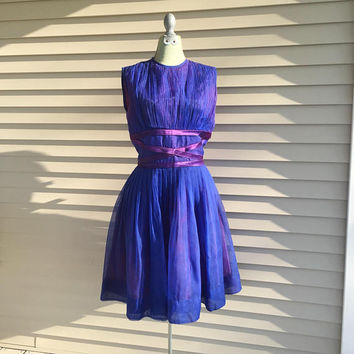 Royal Blue Dress, Full Skirt, Purple Organza 1960's, Sleeveless Dress, Vintage fashion, Small size