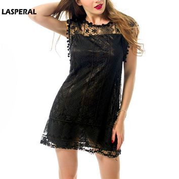 LASPERAL 2018 New Fashion Summer O Neck Mini Lace Dress Women Saxy Short Sleeve Hollow Out Dress Bodycom Slim Vestidos Plus Size