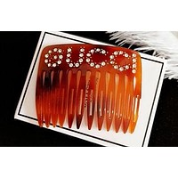 Gucci Newest Popular Women Girls Elegant Letter Diamond Hair Comb Accessories Brown