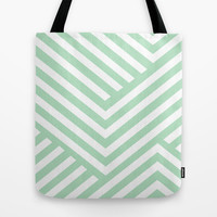 Mint Stripes Tote Bag by Liv B