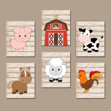 FARM Animals Wall Art, Farm Canvas or Prints, Farm Animals Nursery Decor, Cow Pig Barn Rooster Sheep Horse, Farm Bedroom Pictures, Set of 6