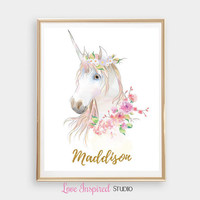 Custom Name Print Personalized Name Unicorn Printable Wall Art Girls Room Nursery Print Great Gift Idea Christmas Gift