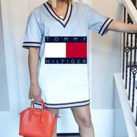 TOMMY HILFIGER Summer Fashion Women Print Short Sleeve V Collar Dress