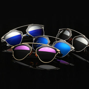 Fashion style The cat's eye metal frame sunglasses reflecting mirror couples and women polarized sunglasses = 1929869444