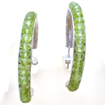 Peridot Hoops Sterling Silver Earrings TGGC