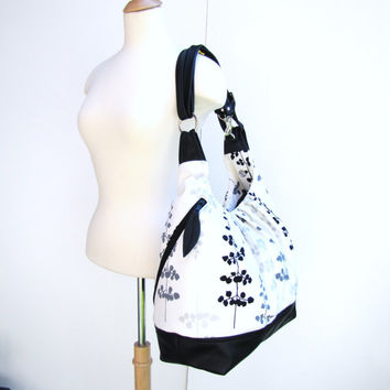 Black & White Canvas/leather Pack Bag, Convertible Backpack, 17 inches Laptop bag, Great diaper bag, Pleated tote bag