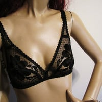 vintage French black sheer bra. made by Erys of Paris size 34 B. Eur size 75