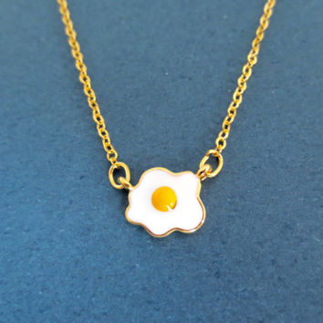 Cute, Egg, Necklace, Egg, Necklace, Egg, Jewelry, Sunny Side Up, Minimal, Cute, Simple, Dainty, Gift, Birthday, Necklace, Food, Jewelry