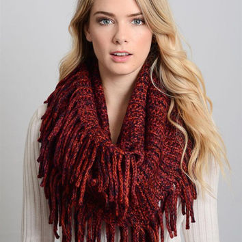 Marbled Tassel Infinity Scarf-Red