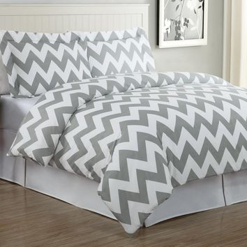 Echelon Home Chevron Duvet Cover Set