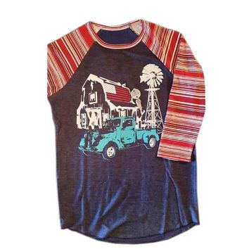 RealChicksRule™ Country Farm Graphic Raglan Sleeve Tee
