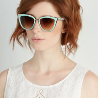 Vintage Inspired Rays Me Up Sunglasses in Mint Floral by ModCloth