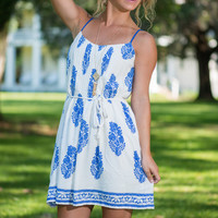 Perfect Pattern Dress, Blue-White