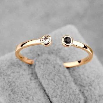 Rings Italian Crystal White Onyx 18K Gold Plated Tail Opening (Milan
