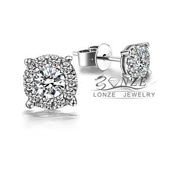 0.25 Carat Cluster Real Diamond Genuine 18K White Gold Diamond Halo Stud Earrings Fine Jewelry Solid Gold Earrings Studs