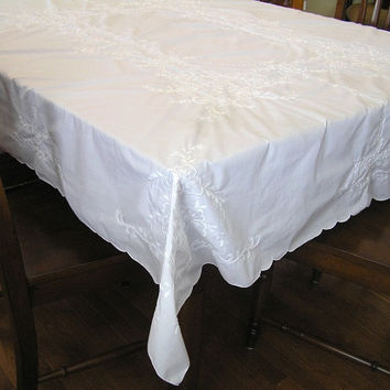 Vintage 1990s White Tone on Tone Embroidered Cotton Tablecloth, 81 x 69 Inches, Very Nice, ~~by Victorian Wardrobe