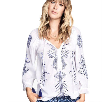 Vintage Embroidered Printed Women Blouses camisetas y tops Linen Summer Shirt White Long Sleeve Women tops Blusas OME9013