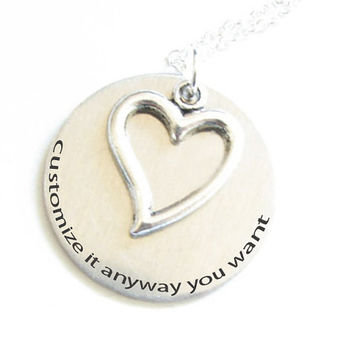 Heart Hand Stamped Necklace Personalized Pendant Charm Chain Wedding Birthday