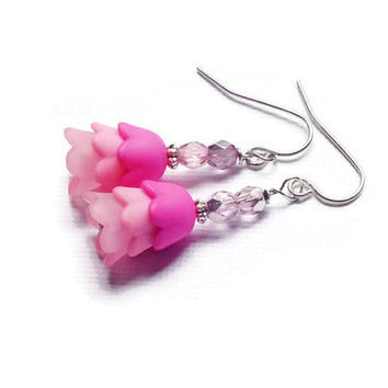 Pink Ombre Tulip Earrings, Czech Earrings, Surgical Steel Earrings, Spring Tulip Earrings, Pastel Earrings