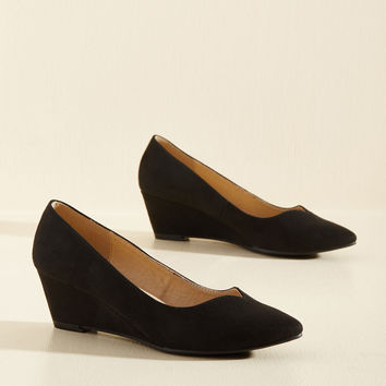 Light on Your Feat Wedge in Black | Mod Retro Vintage Heels | ModCloth.com