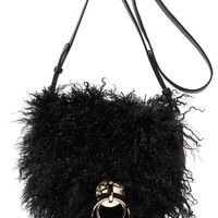 Diane von Furstenberg - Love Power shearling and textured-leather shoulder bag