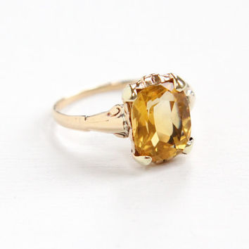 Vintage 10k Yellow Gold Citrine Ring - Art Deco 1930s Size 7 Yellow Orange Gemstone Fine Jewelry