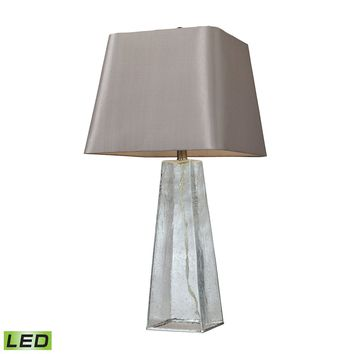 D146-LED Seeded Glass LED Table Lamp in Clear With Light Grey Shade