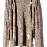 ROMWE | Concealed Buttoned Sequined Coffee Cardigan, The Latest Street Fashion