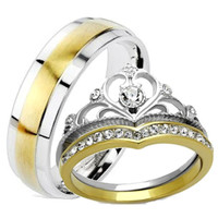 Edwin Earls His Hers 3 Piece Yellow Gold IP Crown Stainless Steel Wedding Ring Set