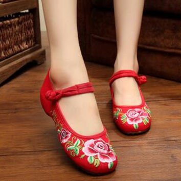 Vintage Embroidery Women Flats Old Peking Shoes Flower Comfortable Soft Canvas Dance Ballet Shoes