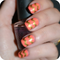 3 Sheets of 44 SKINNY Chevron Nail Decals (You Pick the Color) Now in Neon Colors
