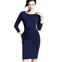 Nice-forever Career Female Peplum Work Dress 3 4 Sleeve O Neck Women Fashion Sheath Elegant Business Bodycon Pencil Dress b228