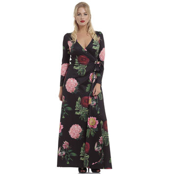 Voodoo Vixen Black Floral Maxi Wrap Dress