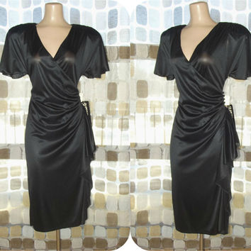 Vintage 80s Draped Ruched Wrap Dress Art-Deco Cocktail 9/10 M/L Retro 40s Hip Swag NWT NOS