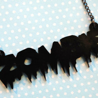 ZOMBIE acrylic laser cut necklace