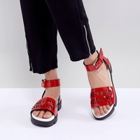 Emporio Armani Logo Leather Sandal With Wrap Angle Buckle at asos.com