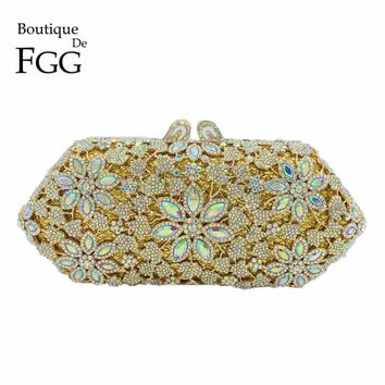 Boutique De FGG Crystal AB Women Gold Flower Evening Bag Wedding Party Prom Metal Clutch Minaudiere Handbag Chain Shoulder Purse