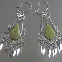 Natural Earrings Serpentine Gemstone