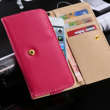 "FLOVEME Universal 5.1"" Luxury Leather Wallet Purse Pouch Case For iPhone 7 6 6s 5 SE Samsung S3 S5 S6 S7 Huawei P8 Lite P9 Cover"