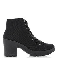 Black Canvas Lace Up Block Heel Ankle Boots