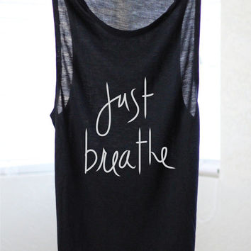 Just Breathe - Yoga Shirt - Flowy tank - Yoga Top - Yoga Clothes - Cat Shirt - Yoga Cat Shirt - Yoga Cat - Yoga - Cat Tank
