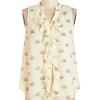 ModCloth Bird Mid-length Sleeveless Swan Voyage Top