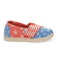 TOMS Red Canvas Stars Stripes Tiny TOMS Classics Red