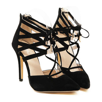 Sexy Cross Lace-up High Heel Shoes Sandals