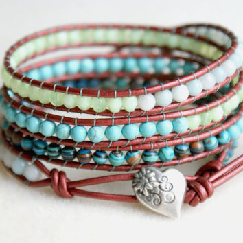 Mixed Gemstones Bohemian beaded leather wrap bracelet, Chan Luu Style, trendy cottage chic 4 times wrap Turquoise amazonite heart button