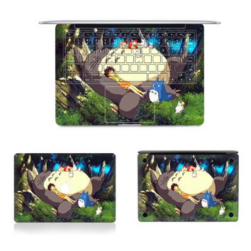 "Laptop Full Vinyl Decal Top Bottom and Keyboard Side Totoro Print Sticker Skins For Macbook Air Retina Pro 11""12""13""15"""
