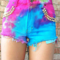 The 500s - Studded Tye Dye High Waisted Shorts