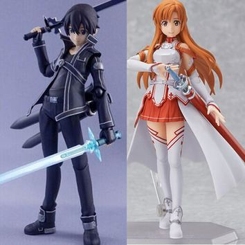 2Pcs/set 15CM Anime Sword Art Online Kirito kirigaya kazuto Yuuki Asuna sao Figma PVC Action Figure Collection Model Toys T3415